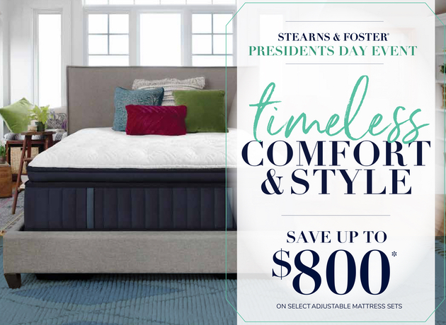Stearns and Foster Presidents Day Mattress Sale